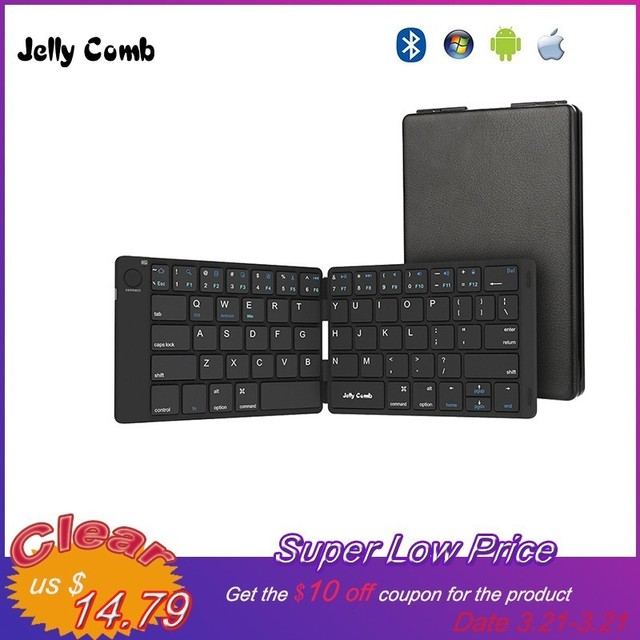 74ca55a78ad Jelly Comb Foldable Bluetooth Keyboard 3.0 Ultra Slim Folding Mini  Rechargeable Keyboard for iPad Android Mac