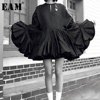 [EAM] 2019 Новинка Весна Лето круглый вырез длинный рукав черная гофрированная кайма необычный темперамент платье Женская мода Tide JS679