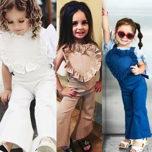 Hot New Kids Baby Girls Bib Pants Bell-Bottom Trousers Fashion Jumpsuit Outfits