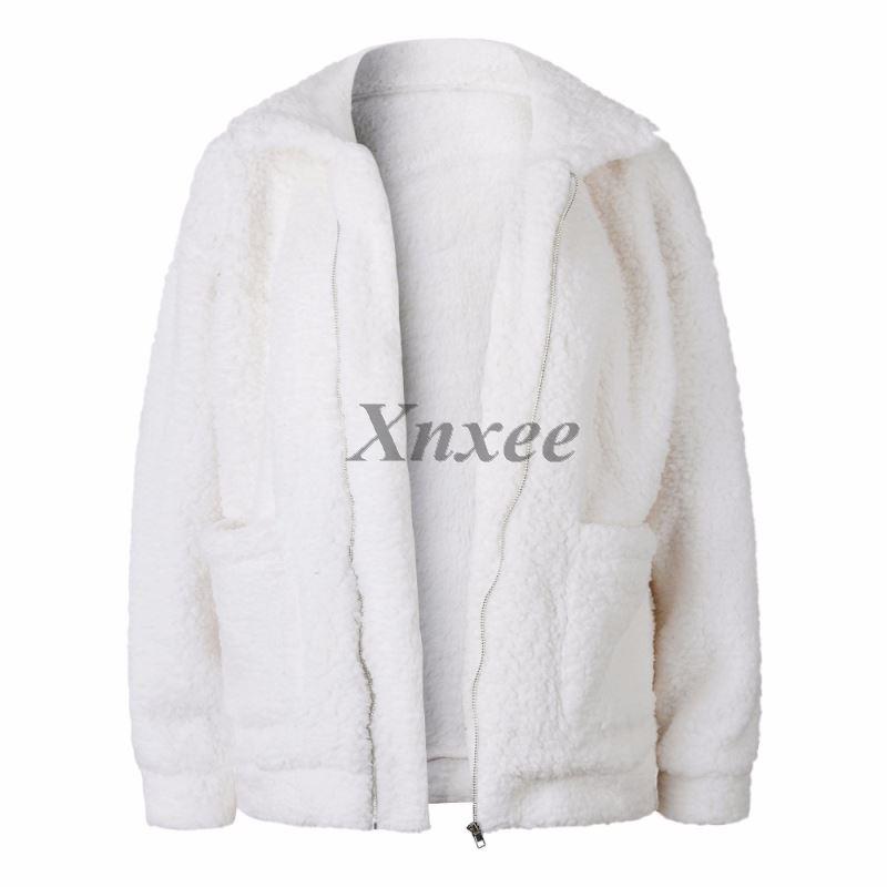 Autumn Fashion Faux Lambswool Women Jacket Loose Cardigan Long Sleeve Jaqueta Female Hairly Coat Outerwear Plus Size