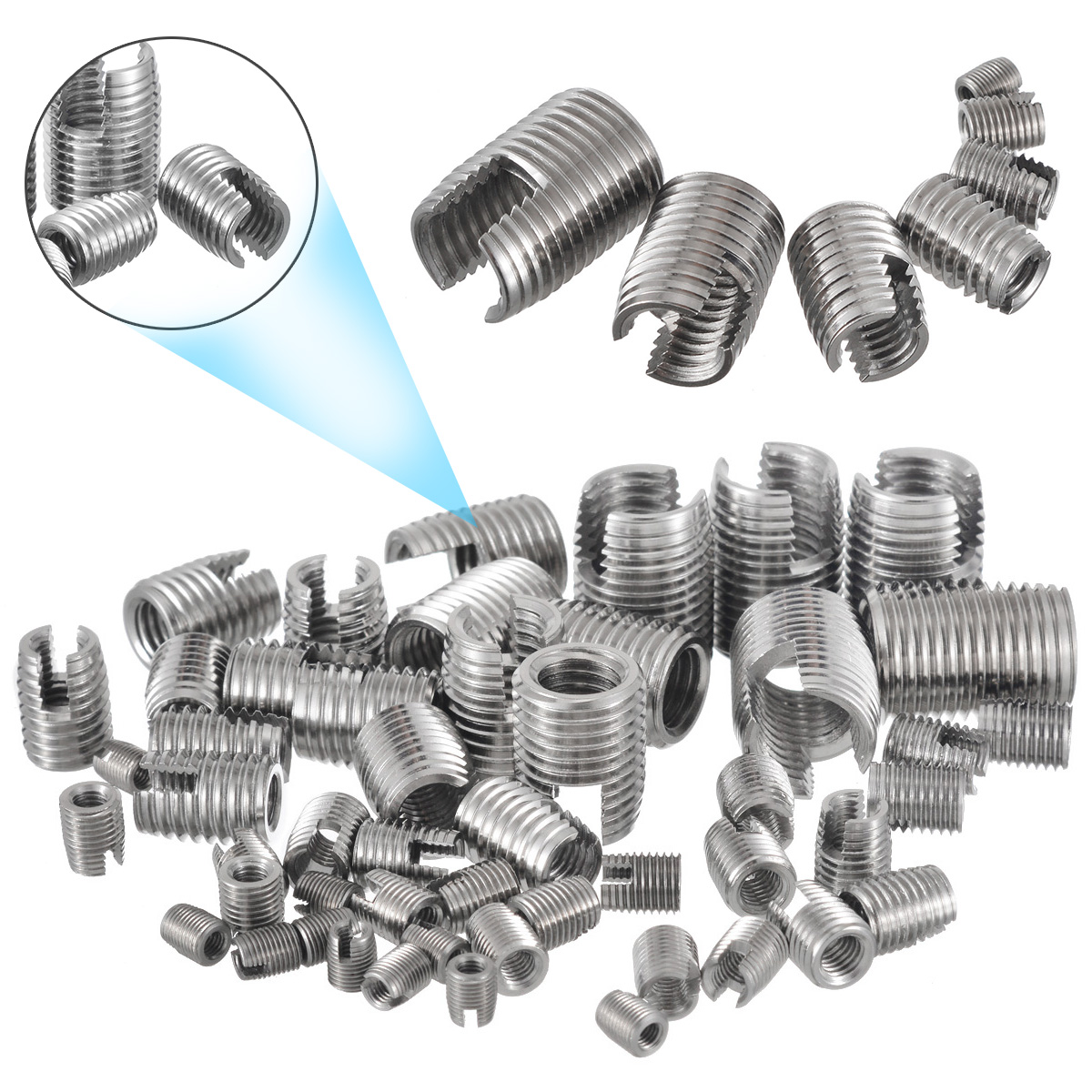 50pcs/set Silver Stainless Steel Thread Repair Insert Kit M3 M4 M5 M6 M8 M10 M12  Helical Insert Self Tapping Slotted Screw