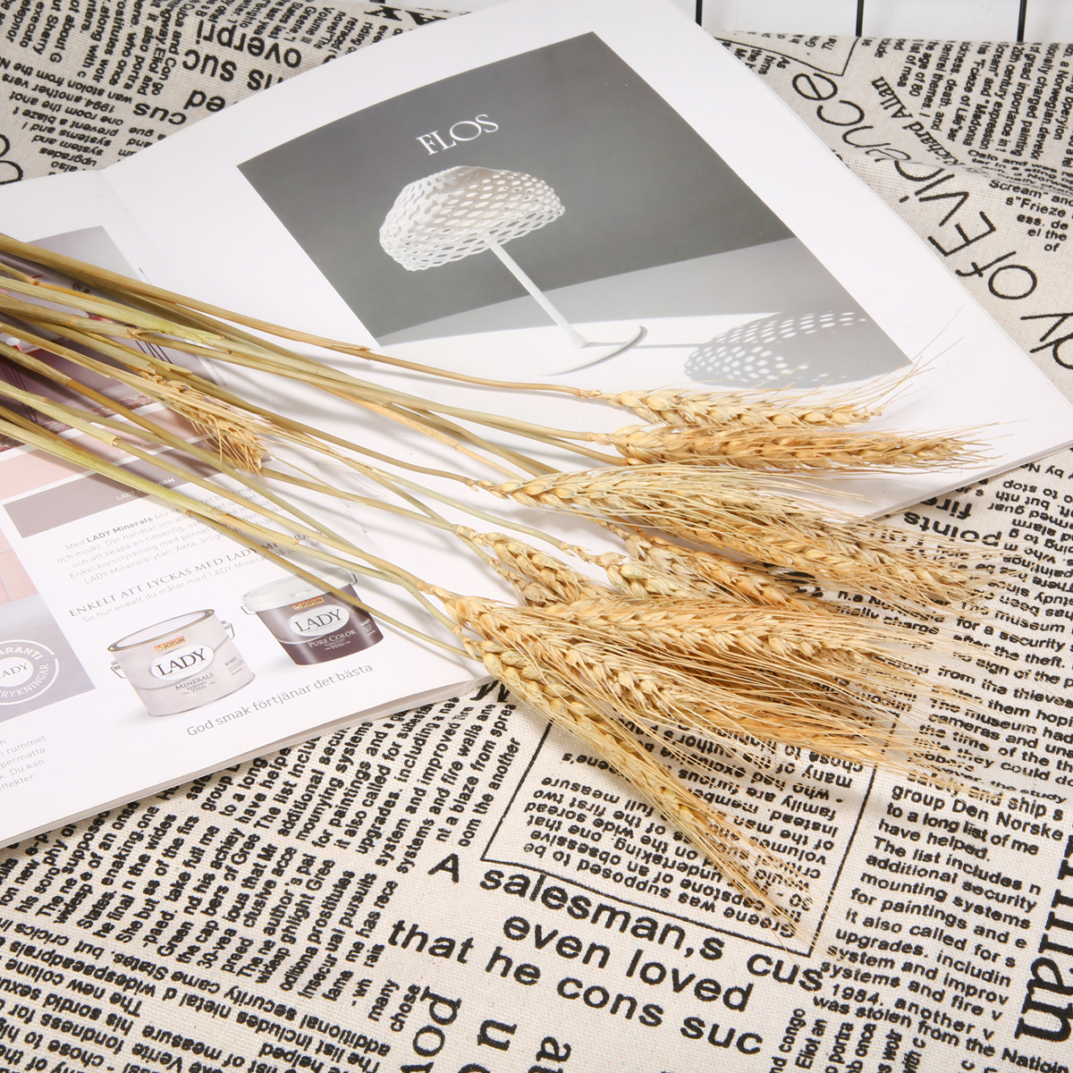 15pcs 1 branch of Wheat Dried Bouquet Photo Taking Prop Wedding Party Home Decoration Plant