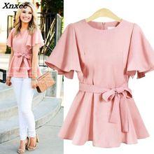 Women shirt casual women blouse o-neck tops with belt elegant female loose streetwear plus size Xnxee