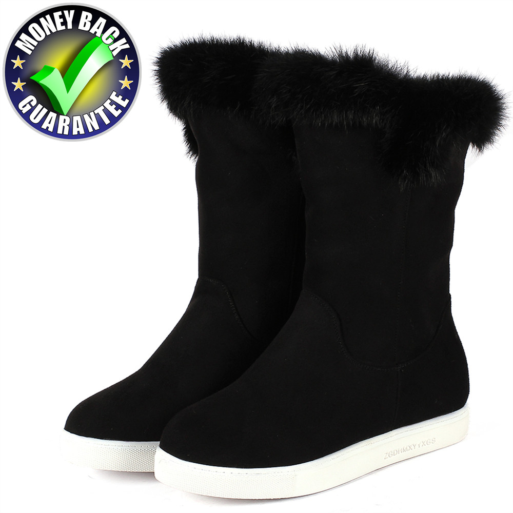 New Winter Boots Women Warm Snow Ankle Rabbit Fur Boots Snow Boots Flat Boot Ladies Flock Female Fashion Non-Slip Basic Shoes недорого
