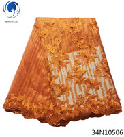 Beautifical orange lace embroidery fabric nigerian lace fabric 2018 high quality lace french lace african with beads 34N105