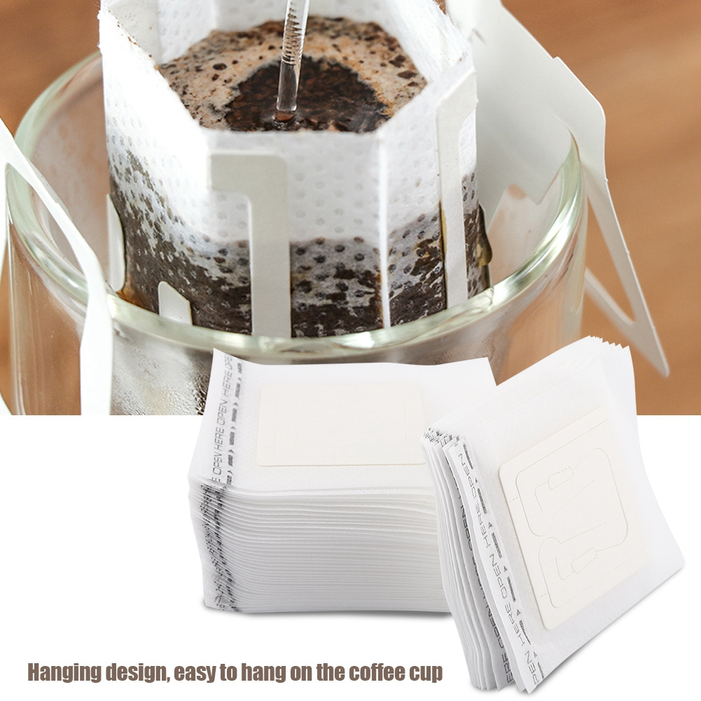 50pcs Pack Coffee Filter Paper With Hanging Design Easy To Hang On Coffee Cup 1