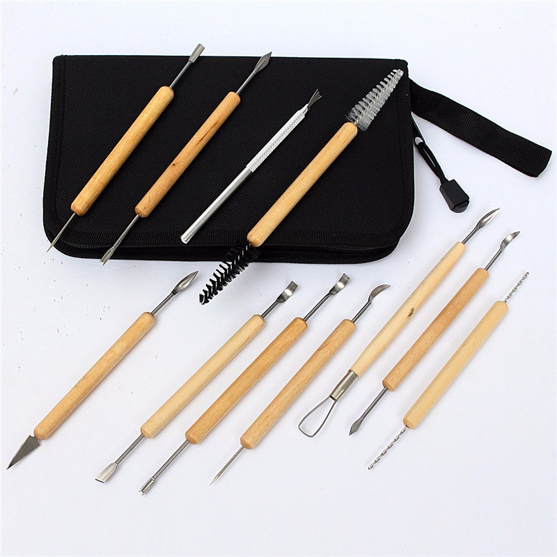 Tools 11pcs/set Clay Sculture Tool Kit Wax Carving Pottery Ceramics Tools Jewelry Making Modeling Polymer Shapers Carved Tool With Bag