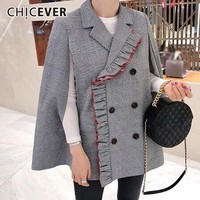 CHICEVER 2018 Autumn Winter Plaid Blazer Female Coat Double Breasted Ruffles Hit Colors Loose Women's Suit Jackets Fashion New