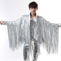 men suits designs tassel silver stage costumes for singers men sequin blazer dance clothes jacket star novelty dress punk