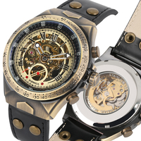 Relógios dos homens Preto/brown Pulseira De Couro Automático Mecânica Auto vento Assista Homens de Negócios Estilo Relógios Relogio masculino|Relógios mecânicos| |  -
