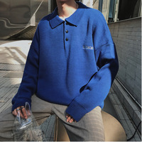 2018Autumn And Winter Wear Exquisite Korean Style Solid Color POLO Collar Sweater Men's Pullover Men's Gray / Black / Blue M 2XL