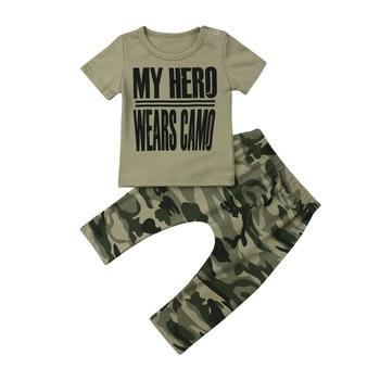 acfae73ac De moda Casual de bebé recién nacido de verano de los niños de manga corta  carta Tops camiseta pantalones cortos 2 piezas trajes conjuntos de ropa