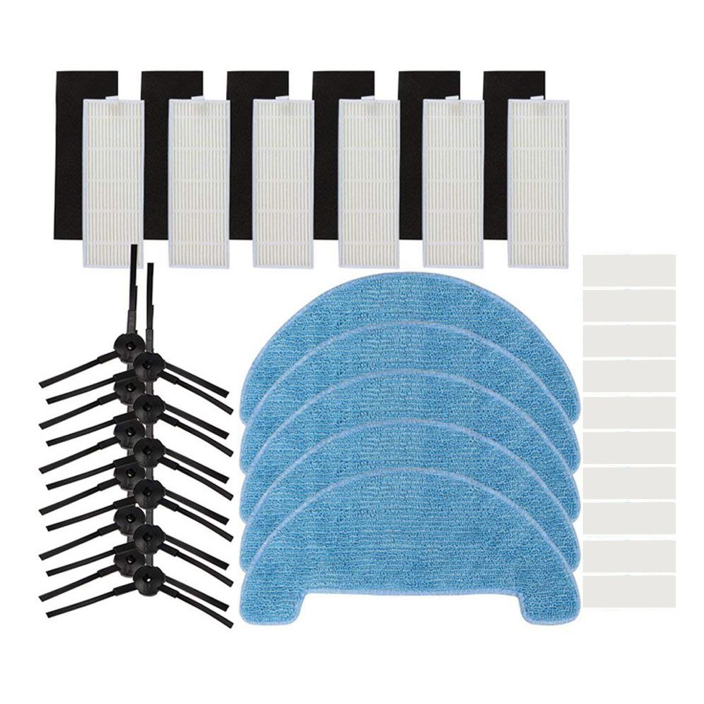 Replacement Accessory Parts for ILIFE A4 Robot Vacuum - 6 pcs Hepa Filter Pcs Sponge 12 Side Brush 5 Mop Clot