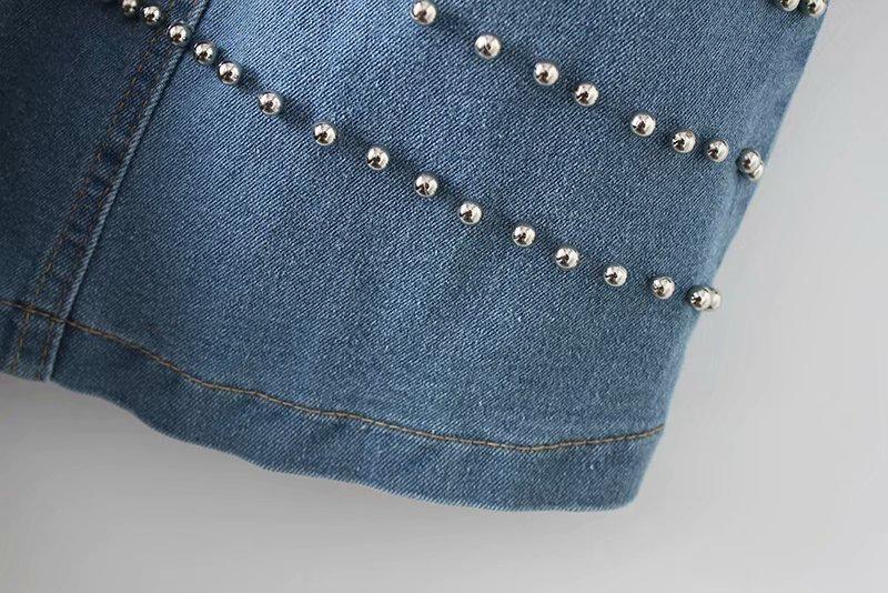 Métal Unique Picture Robe Mini Femmes Perle Denim En Moulante Bouton Style 2019 Chemise Color Rivet Robes Vintage Slim Cowboy Poitrine XYAwqxpz