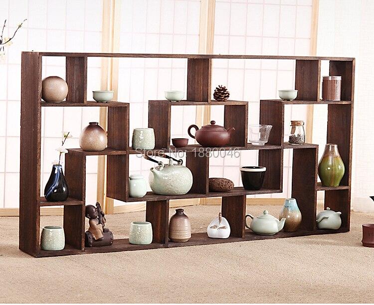 big size112x58cm Burnt Paulownia Wood teapot shelf wood rack Tea Trays Tea Saucer Chinese teacup collection Crafts display tray wall shelf for tea pots