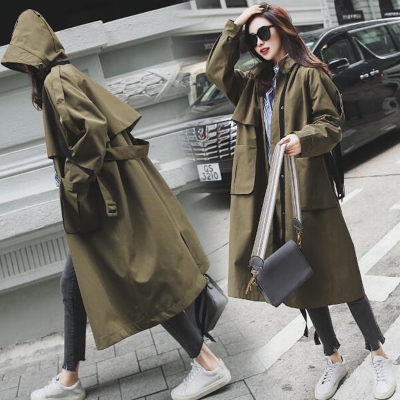 new Fashion 2019 Fall /Autumn Women Casual Oversized Large pockets Loose   Trench   coat Chic Female windbreaker