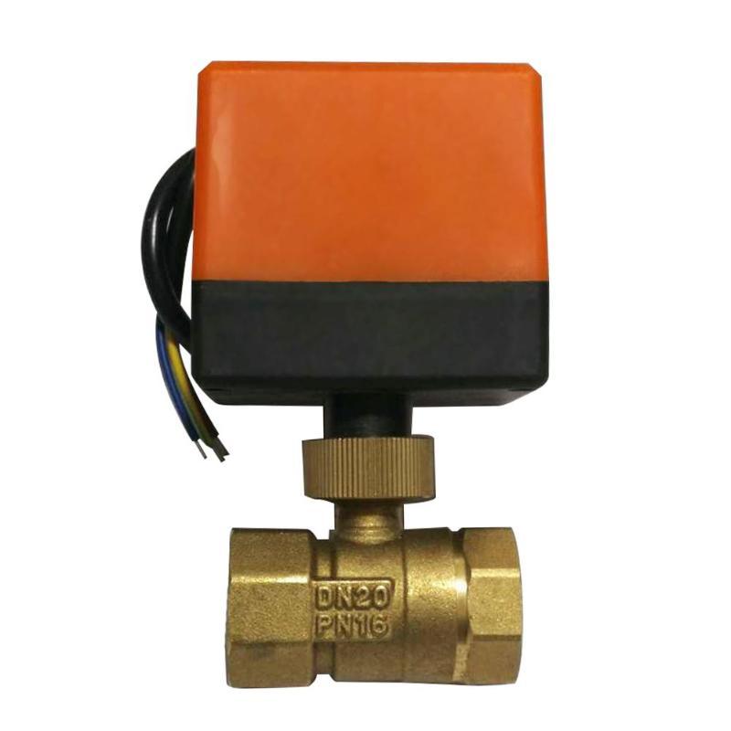 Válvula de esfera motorizada válvula de esfera elétrica controle estável rosca de bronze dc12v ac220v DN15-50 3-wire 2-way