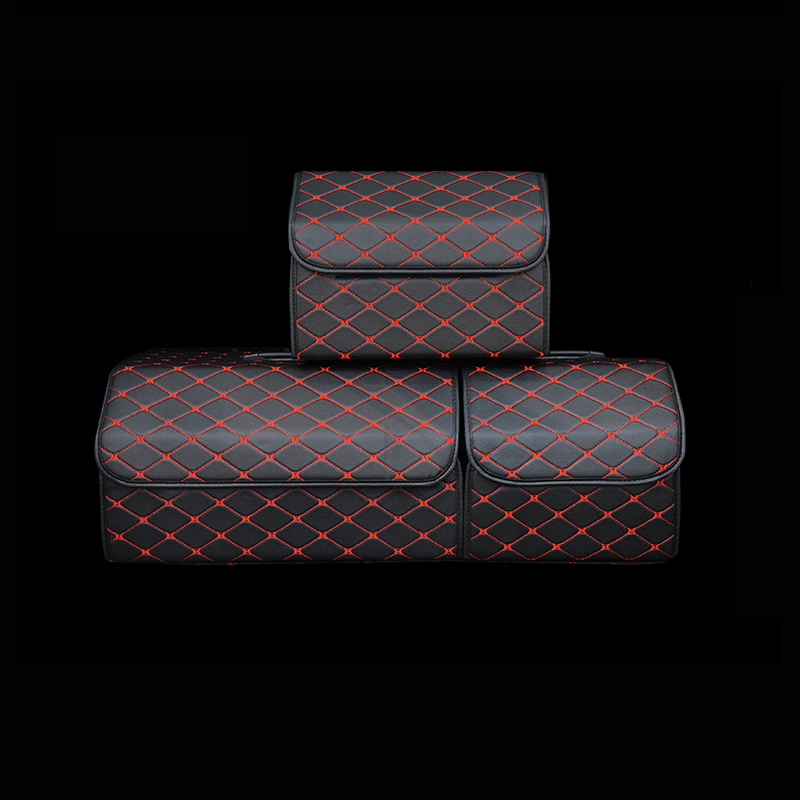 Car Trunk Organizer Box Storage Bag Auto Trash Tool Bag PU Leather Folding Large Cargo Storage Stowing Tidying Car Accessories(China)