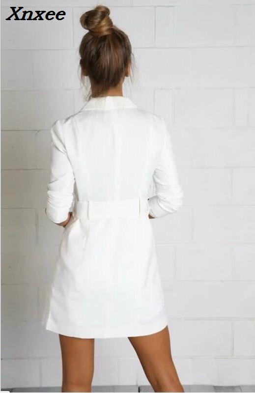 Women long suit blazer with belt office ladies slim formal coat jacket casual outwear female work wear blazer feminino Xnxee