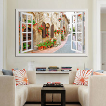 3D Window View Wall Sticker Landscape European Town Street Sticker Decal Vinyl Wallpaper Home Decor Living Room(China)