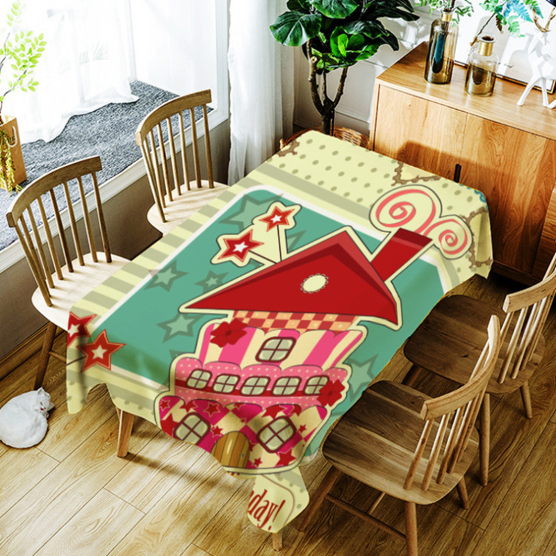 Cartoon House Character Tablecloth Waterproof Dinner Decorative Table Cover Rectangular Tapetes Home Table Cloths Oilproof