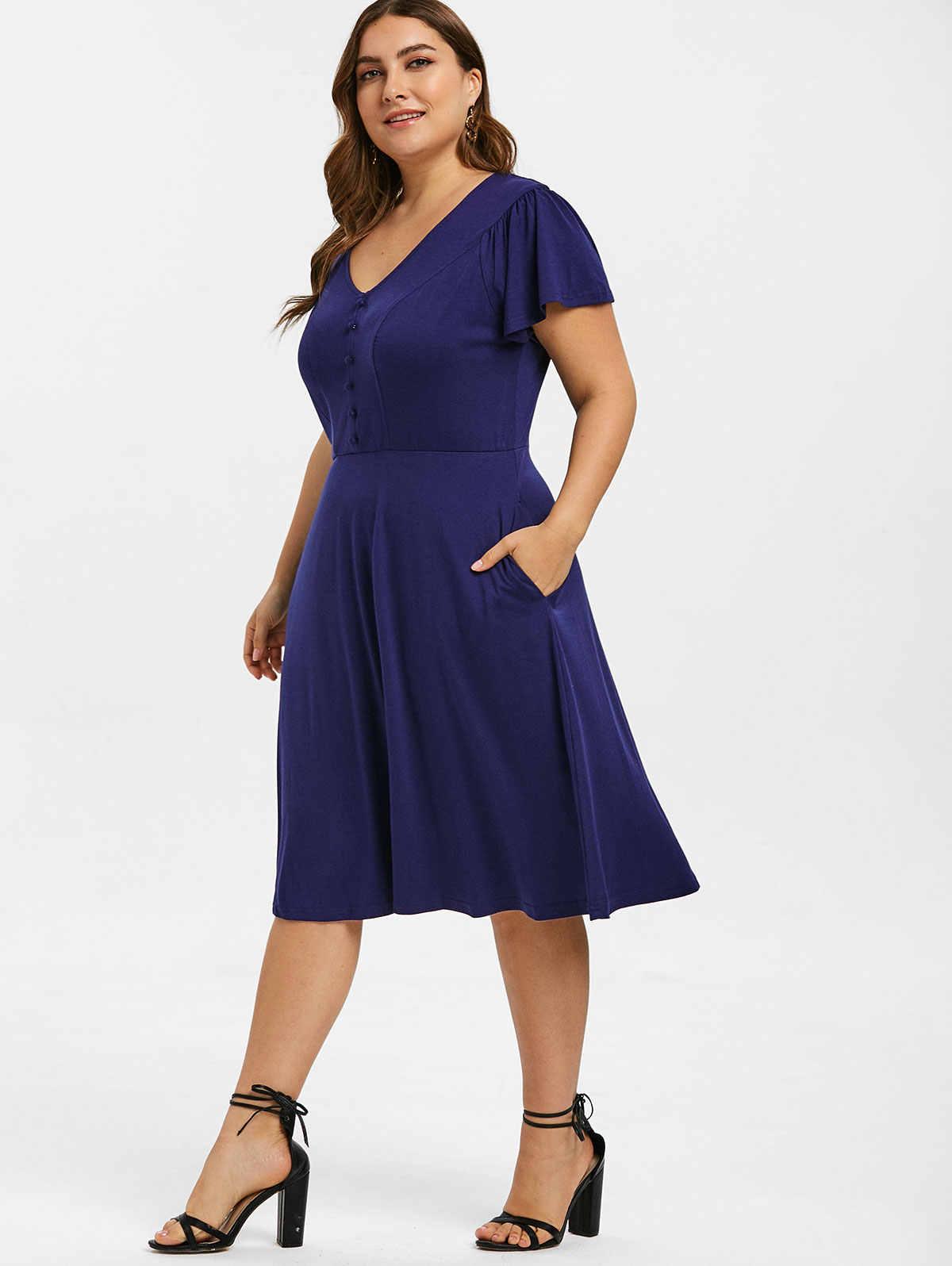 Wipalo плюс размер Кнопка украшенная трапециевидной формы Платье женское с v-образным вырезом короткий рукав летнее однотонное Повседневное платье и расклешенное платье Vestidos 5XL
