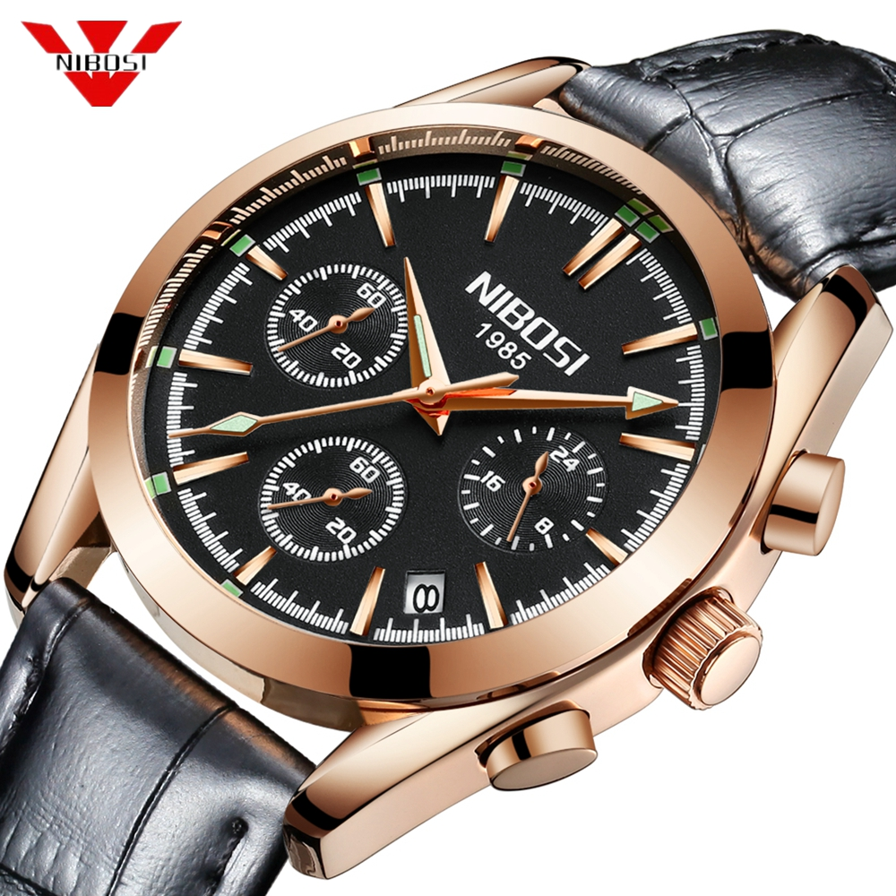 Relogio Masculino NIBOSI Mens Watches Top Brand Luxury Business Quartz Waterproof Wristwatches Leather Strap Watch Reloj Hombre стоимость