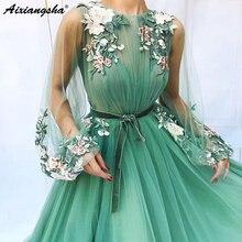 Иллюзионное Тюлевое ТРАПЕЦИЕВИДНОЕ Мятное зеленое платье для выпускного вечера с длинным рукавом с аппликацией в виде цветов vestidos de festa longo Формальное вечернее платье