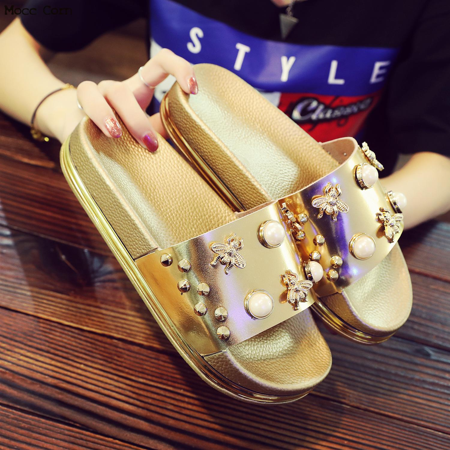 Bling Gold Silver Slipper Platform Sandals Indoor Floor Home Women Slippers Summer Pearl Bathroom Non-slip Beach Sandals Shoes slipper