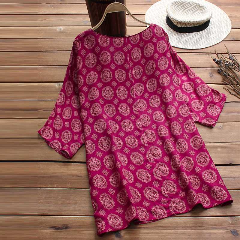 Las navy 3 Mujeres Vintage red Black 5xl Verano Camisa Boho Murciélago Pantalones Blusa L Suelta De Primavera O Ocasionales Impreso Manga 2019 Blusas 4 Cuello SFfxZ