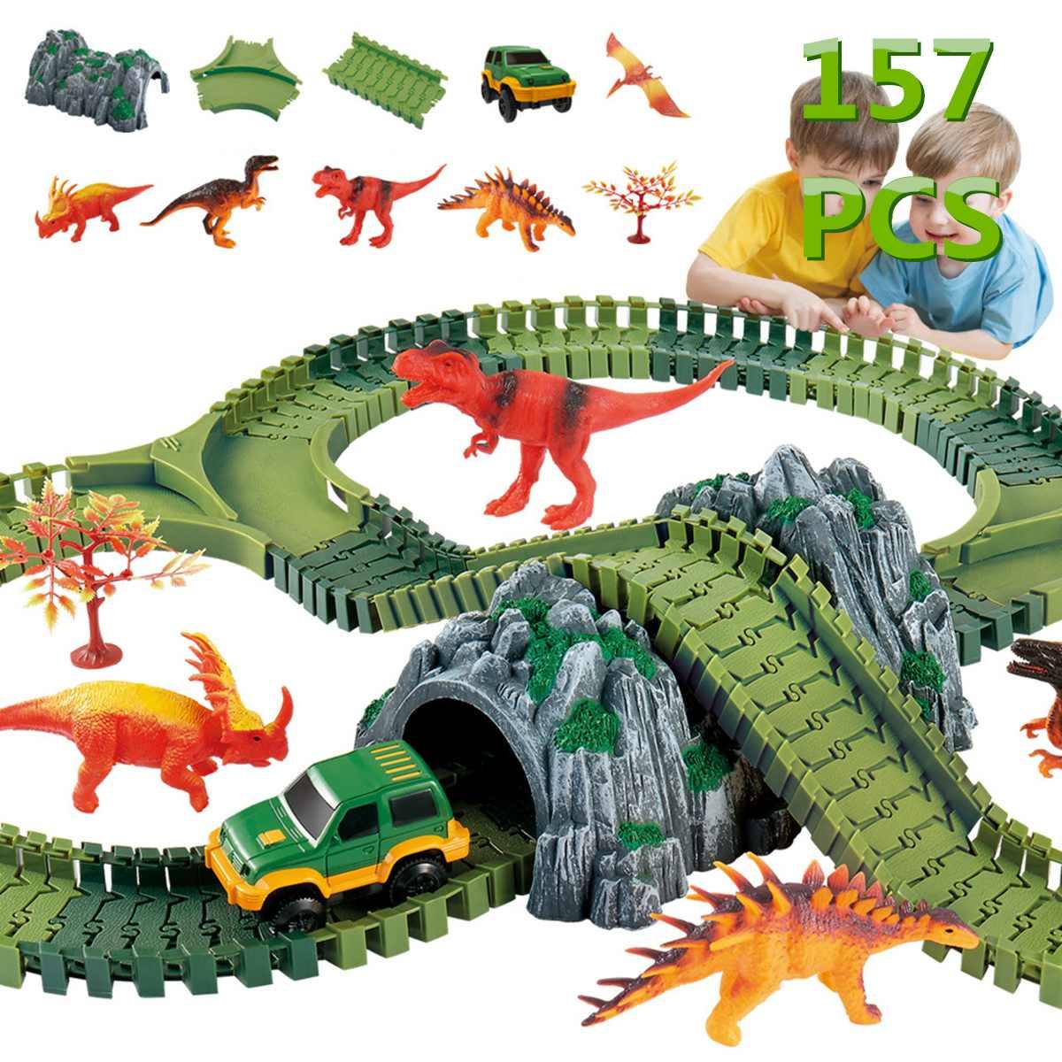 Chemin de fer éducatif jouet course pistes 157 pièces magique course piste jeu ensemble bricolage Flex course piste drôle dinosaure enfant cadeaux