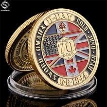 WWII 1944.6.6 D-Day 노르망디 전쟁 II 70 주년 기념 금속 도전 동전 컬렉션 하드 캡슐