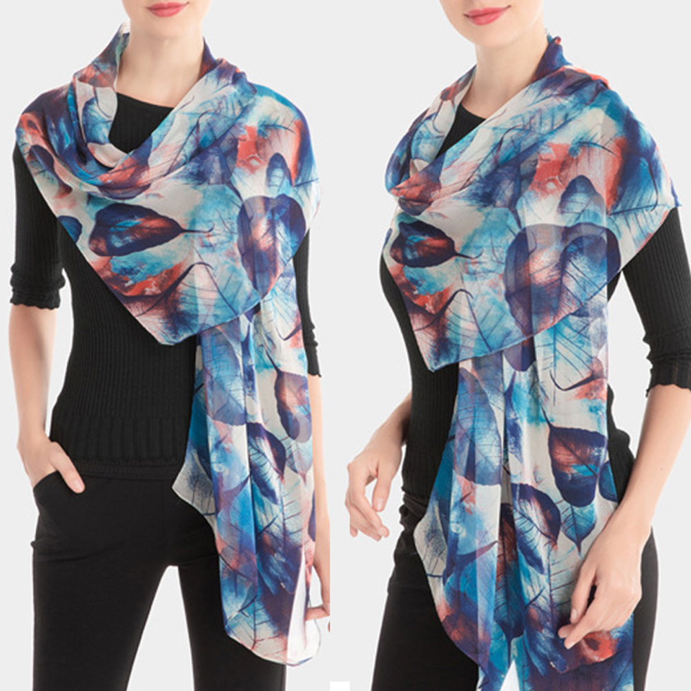 Fashion Summer Tree Leaves Printing Long Georgette Silk   Scarf   For Women Soft Cool Shawl Hijab   Wrap     Scarves   Foulard Femme 2019