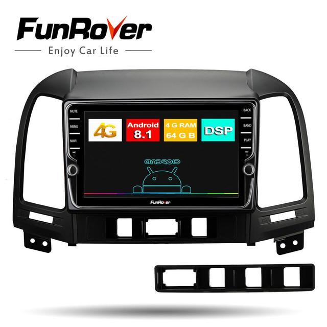 Funrover 4+64G car radio multimedia dvd player 8 core android 8.1 For Hyundai Santa Fe 2005-2012 gps navigation stereo DSP video