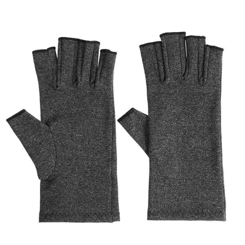 1 пара для женщин и мужчин Хлопок эластичная рука артрита боли в суставах облегчение перчатки Здоровье Уход открытый пальцы компрессионные перчатки