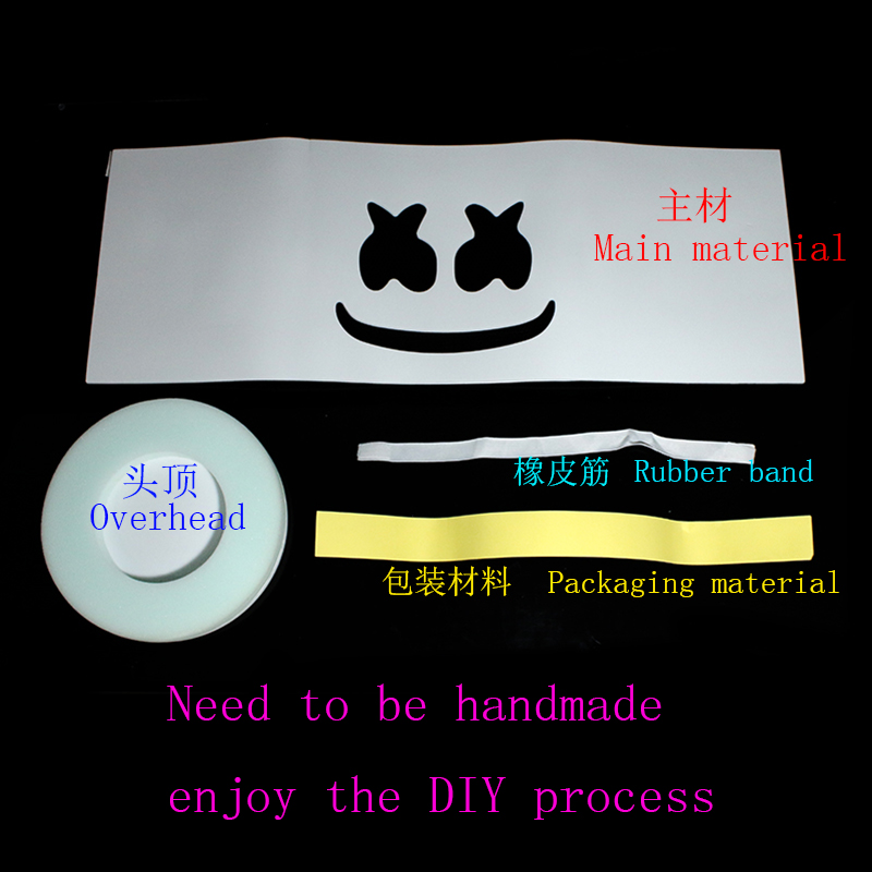 DJ Marshmello Mask Full Face Cosplay Costume Carnaval Halloween Prop  Self-assembling to enjoy DIY fun