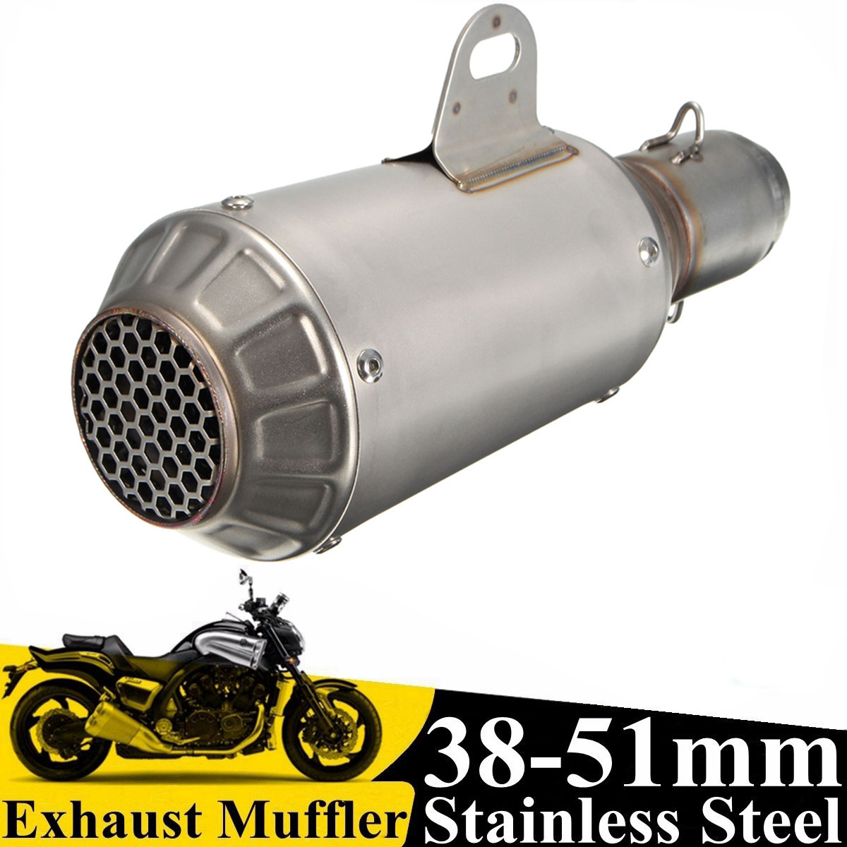 Inlet 51mm Motorcycle Exhaust Pipe Muffler Stainless Steel SC GP Racing Project Exhaust Mufflers Carbon Fiber