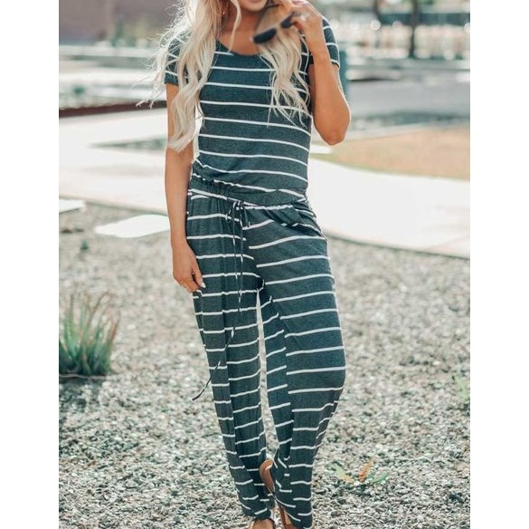 Fashion 2019 Summer Women Striped Jumpsuit Casual Short Sleeve Tracksuit Overalls Loose O Neck Long Romper