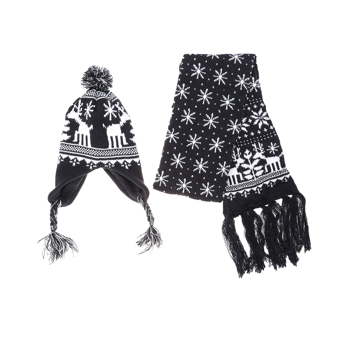 2PCS Unisex Christmas Snowflake Elk Pattern Lovely Acrylic Wool Scarf Hat Set For Women Men