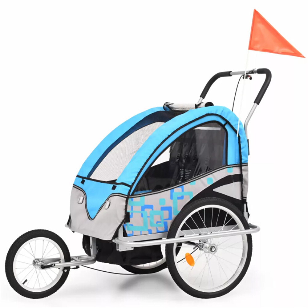 VidaXL 2-In-1 Kids' Bicycle Trailer And Stroller Blue Children Chairs Suitable For 1 To 2 Children Outdoor Children Furniture