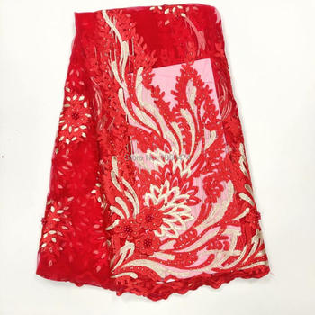 New Big Red Designs African French Lace Fabric High Quality Nigeria african French Net Lace 2019 With Stone and Beaded For Women