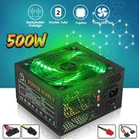 500W Power Supply 120mm LED Fan 24 Pin PCI SATA ATX 12V PC Computer Power Supply for Desktop Gaming storage cable