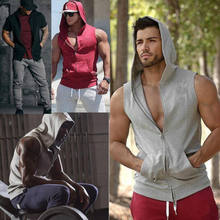 58e83696f21b3 2019 Mens Bodybuilding Stringer Workout Gym Hoodie Tank Top Fitness Hooded  Shirt Vest(China)