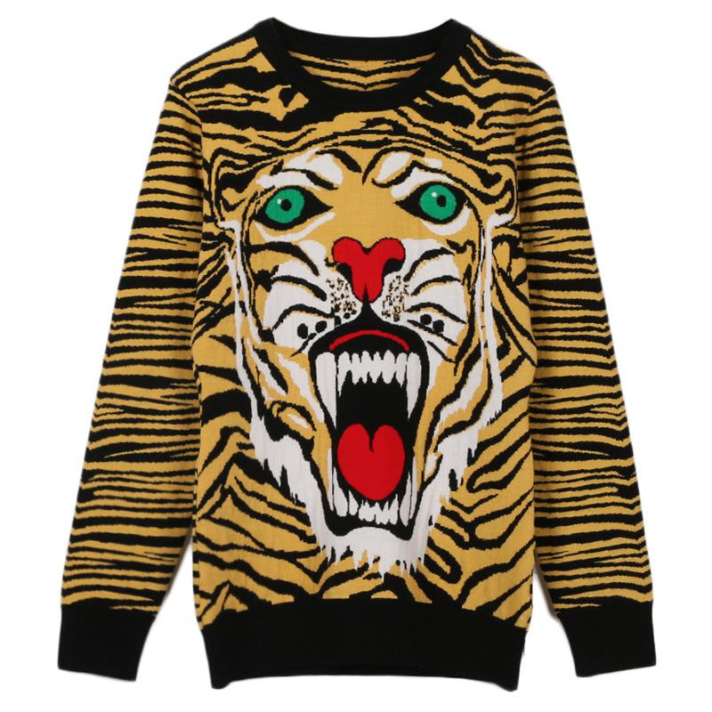 Runway Vintage Winter Sweater Women 2018 Tiger Head Pattern O-neck Long Sleeve Casual Knitted Pullover Jumper sueter mujer