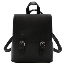 WomenS Patchwork Backpack Sleek Minimalist Black