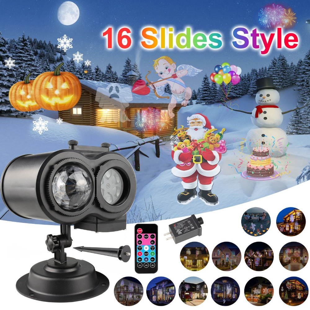 US EU Plug Christmas Laser Proejctor Light 16 Slides Pattern Ripple Stage Light Double Head Outdoor