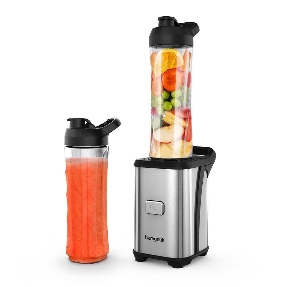 Homgeek Mini 350W Juicer Espremedor de Frutas Vegetal Misturador Liquidificador Processador de Alimentos Com 2 Destacável BPA Livre-Curso Esporte copos
