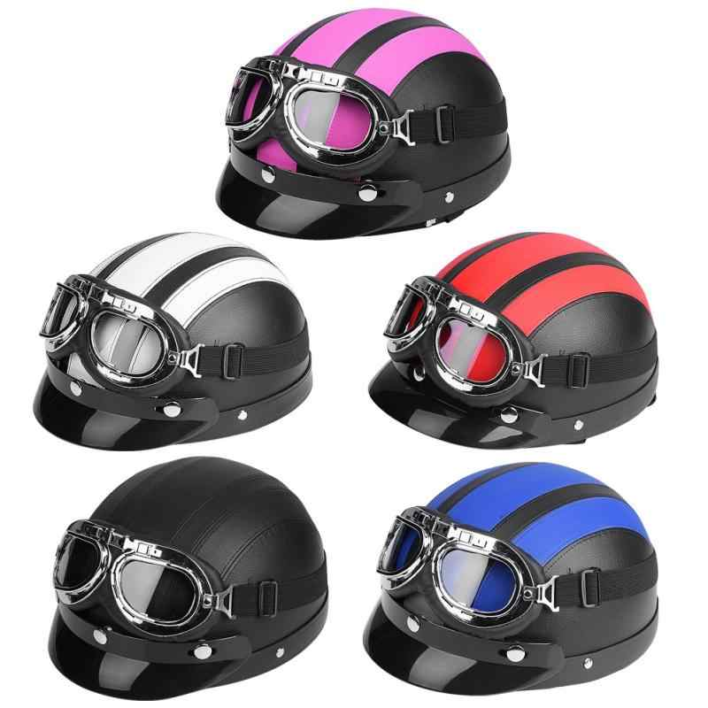 Pink Color Motorcycle Synthetic Leather Open Face Half
