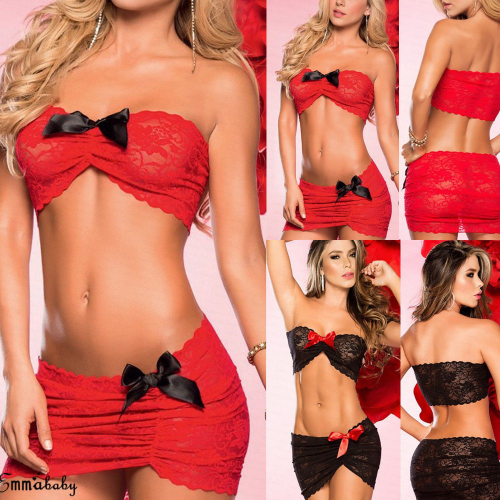 2Pcs Sexy Lingerie Women Lace Bowknot Red&Black Stretch Mini Dress Lingerie Sexy Erotic Nightwear Babydoll