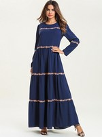 Loose Women Long Muslim Dress Round Neck Long Sleeve Swing Dress Print Ethnic Embroidery Ruffles Maxi Dress